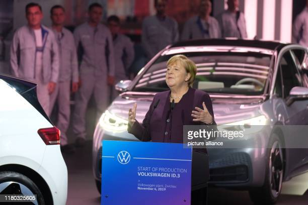 November 2019, Saxony, Zwickau: Chancellor Angela Merkel speaks at a ceremony at the VW plant to mark the start of production of the ID3 electric...