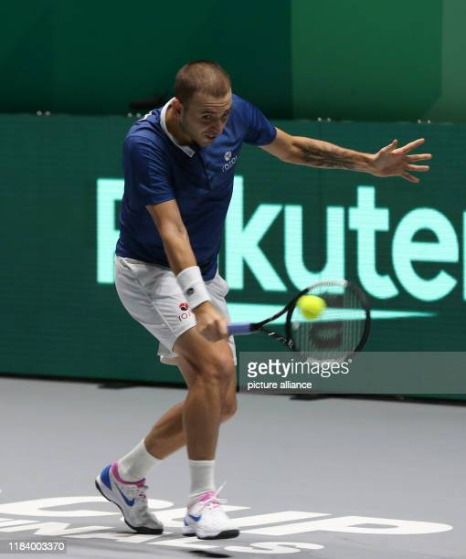 The tennis player Daniel Evans fron Great Britain played versus JanLennard Struff from Germany plays versus for Quarterfinals of Davis Cup in Madrid...