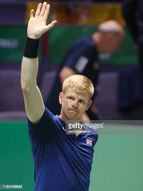 November 2019, Spain, Madrid: The tennis player Kyle Edmond fron Great Britain plays versus Feliciano López from Spain, for the Semifinals of Davis...