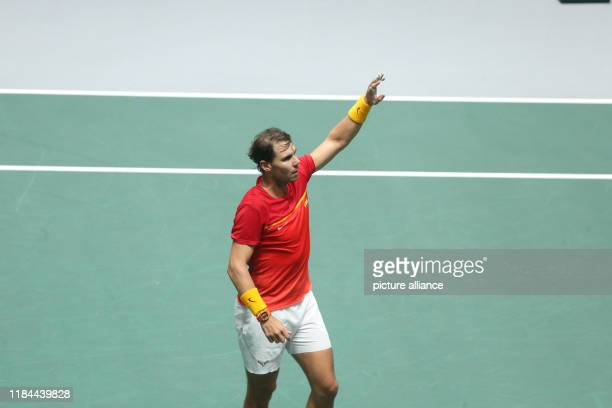 November 2019, Spain, Madrid: The tennis player Rafael Nadal from Spain, celebrates winning over Kyle Edmond fron Great Britain, 6-4, 6-0, for the...