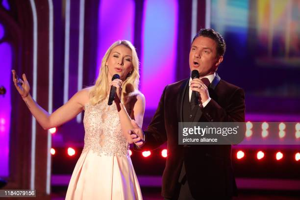 Stefan Mross and girlfriend AnnaCarina Woitschack recording the MDR show Die Grosse Show der Weihnachtslieder at CC Suhl The broadcast of the...