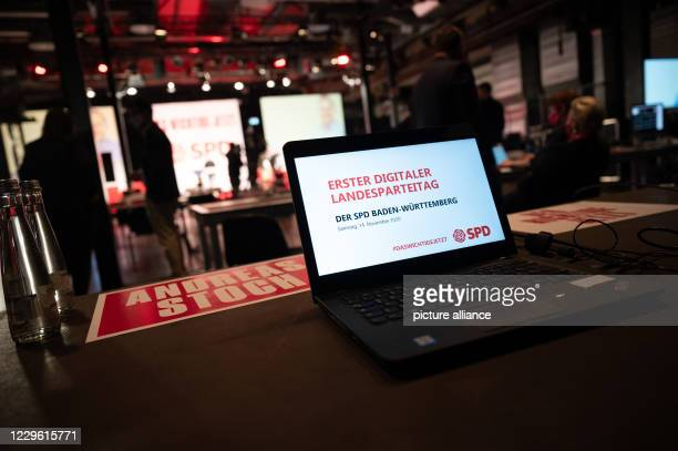 """November 2020, Baden-Wuerttemberg, Stuttgart: """"First Digital State Party Conference"""" is written on a laptop during a one-day online party conference..."""
