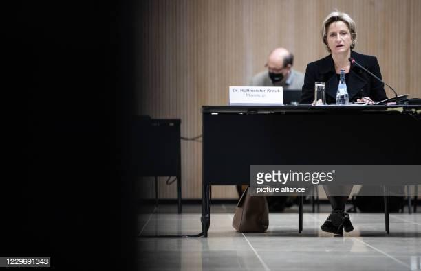 November 2020, Baden-Wuerttemberg, Stuttgart: Nicole Hoffmeister-Kraut , Minister of Economic Affairs of Baden-Württemberg, speaks before the...