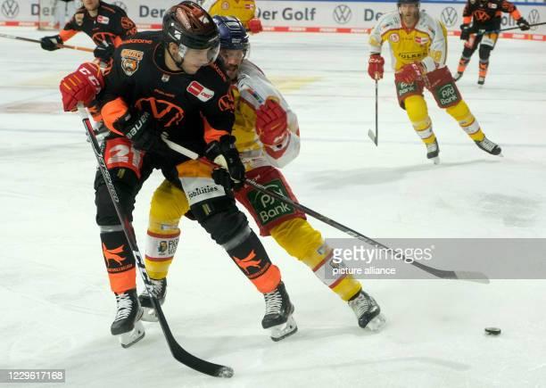 November 2020, Lower Saxony, Wolfsburg: Ice hockey: Magenta Sport Cup, Grizzlys Wolfsburg - Düsseldorfer EG, preliminary round, Group A, 1st day of...