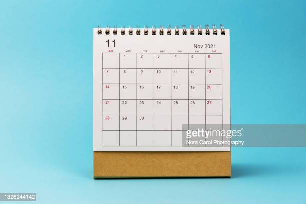 november 2021 calendar on blue background - 十一月 ストックフォトと画像