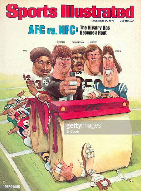 November 21 1977 Sports Illustrated via Getty Images Cover Cartoon illustration of AFC players by Art Department Cleveland Browns Greg Pruitt Oakland...