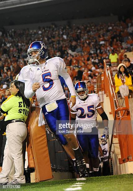 University of Kansas Jayhawks QB Todd Reesing leads his team on to the field at the University of Texas Darrell K Royal Texas Memorial Stadium in...