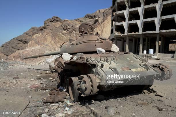 November 21 2018. An abandoned tank on November 21, 2018 in Aden, south Yemen.