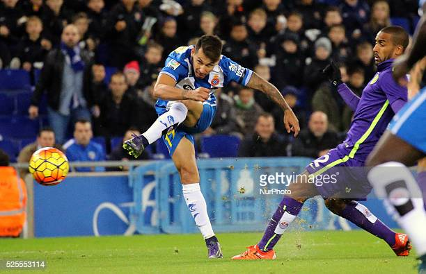 Hernan Perez goal during the match between RCD Espanyol and Malaga CF corresponding to the week 12 of the spanish league played at the Power8 Stadium...