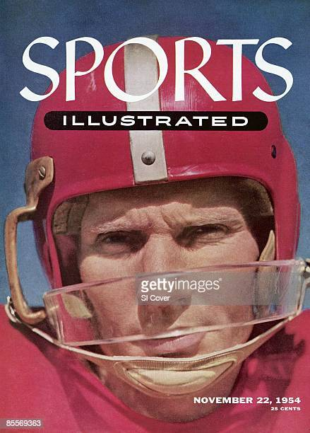 November 22 1954 Sports Illustrated Cover Football Closeup portrait of San Francisco 49ers QB YA Tittle wearing helmet with plastic guard equipment...