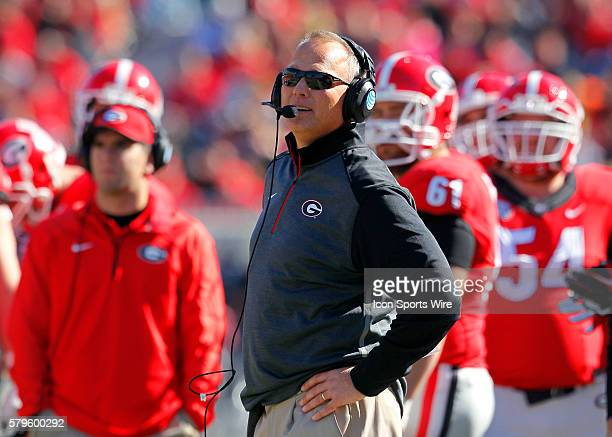 Georgia Bulldogs head coach Mark Richt in first half action of the Charleston Southern Buccaneers at Georgia Bulldogs game at Sanford Stadium in...