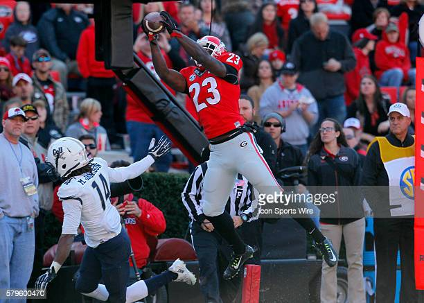 Georgia Bulldogs wide receiver Shakenneth Williams goes up for the touchdown reception but is ruled out of bounds in the Georgia Bulldogs 559 victory...