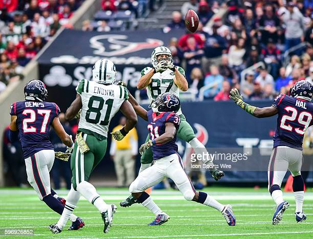 Houston Texans Cornerback Charles James breaks up a pass intended for New York Jets Wide Receiver Eric Decker during the Jets at Texans game at NRG...