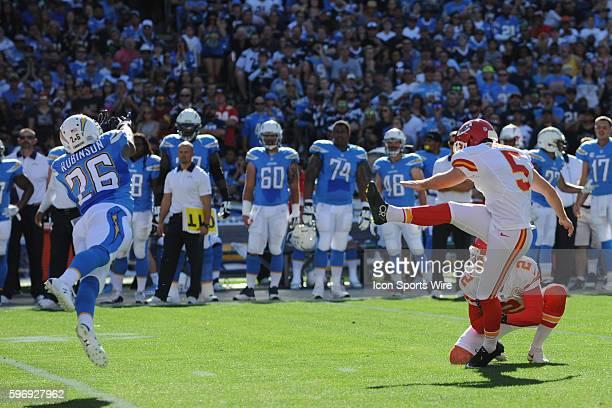 November 22 2015 Kansas City Chiefs Place Kicker Cairo Santos [11109] misses an extra point off the hold of Kansas City Chiefs Punter Dustin Colquitt...