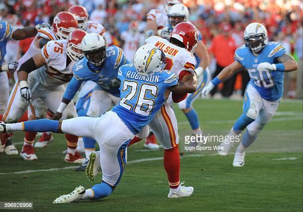 November 22 2015 San Diego Chargers Cornerback Patrick Robinson [9020] wraps up Kansas City Chiefs Wide Receiver Albert Wilson [12635] with San Diego...