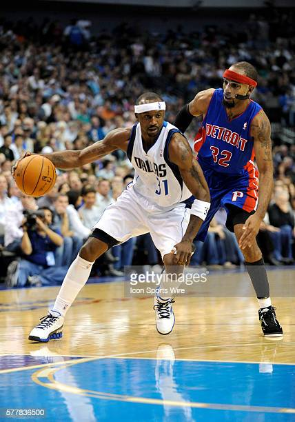 Dallas Mavericks shooting guard Jason Terry drives in past Detroit Pistons shooting guard Richard Hamilton during an NBA game between the Detroit...