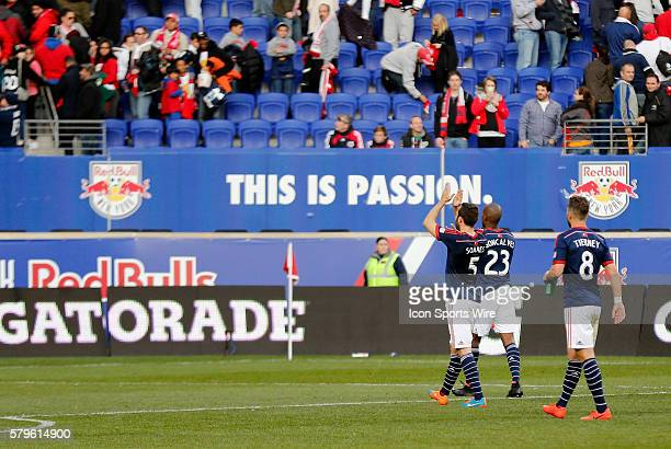 New England Revolution's AJ Soares and New England Revolution's Jose Concalves thank the fans who travelled down from Boston The New England...