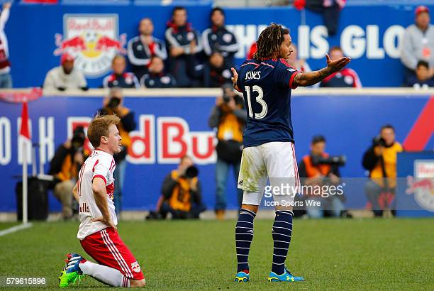 New England Revolution's Jermaine Jones claims innocence on a foul to New York Red Bulls' Dax McCarty The New England Revolution defeated the New...