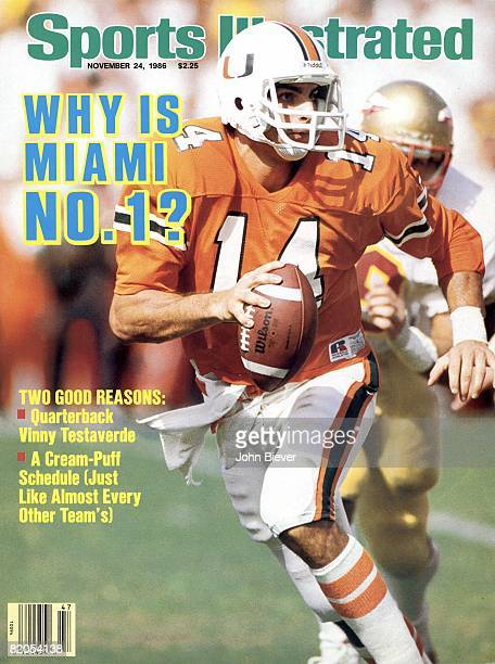 November 24 1986 Sports Illustrated via Getty Images Cover College Football Miami QB Vinny Testaverde in action vs Florida State Miami FL 11/1/1986...