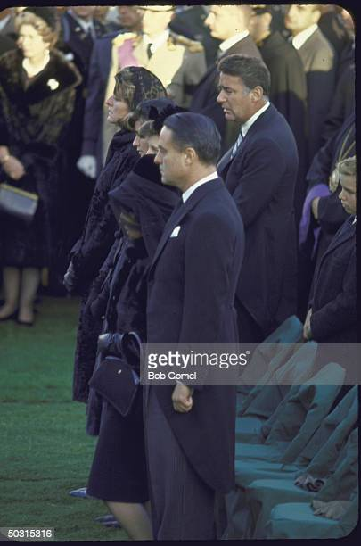 Eunice and Sargent Shriver Rose Kennedy Jean Smith Patricia and Peter Lawford among those present at the graveside during burial services for Pres...