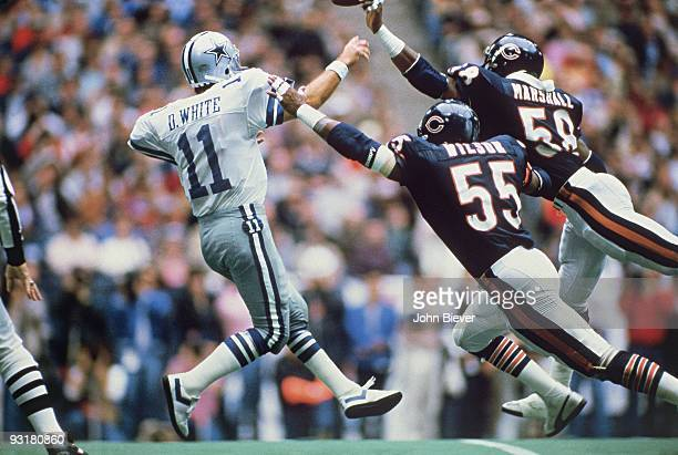 November 25 1985 Sports Illustrated Cover Football Chicago Bears Otis Wilson and Wilbur Marshall in action defense vs Dallas Cowboys QB Danny White...