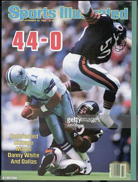 November 25 1985 Sports Illustrated via Getty Images Cover Football Chicago Bears Dave Duerson and Mike Singletary in action making sack vs Dallas...