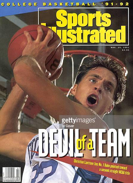November 25 1991 Sports Illustrated via Getty Images CoverCollege Basketball Closeup portrait of Duke Christian Laettner during photo shoot at...