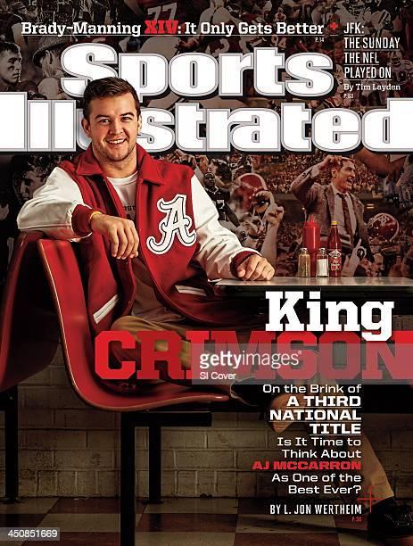 November 25 2013 Sports Illustrated Cover Casual portrait of Alabama quarterback AJ McCarron during photo shoot at Rama Jama's restaurant Tuscaloosa...
