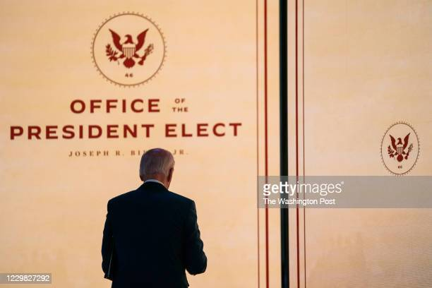 President elect Joe Biden exits the stage after giving a before thanksgiving speech at the Queen in Wilmington DE on November 25 2020