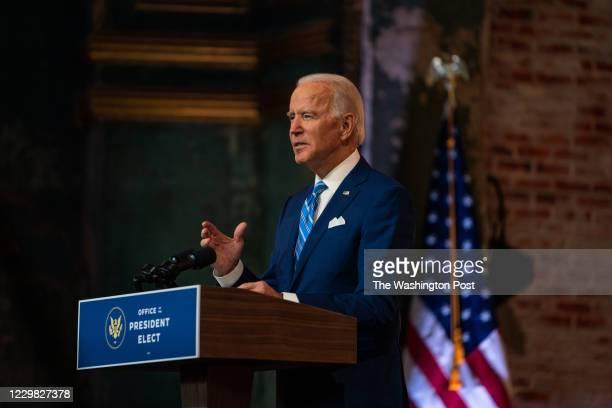 President elect Joe Biden gives a before thanksgiving speech at the Queen in Wilmington DE on November 25 2020