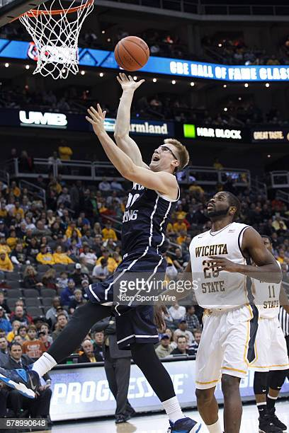 Brigham Young Cougars forward Eric Mika goes up for a shot during a CBE Hall of Fame Classic game between the Brigham Young Cougars and the Wichita...