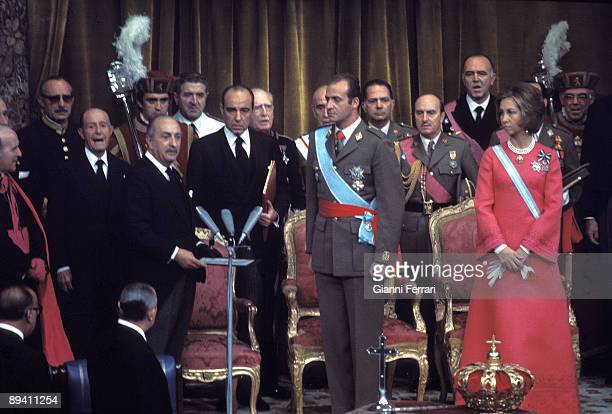 November 27 1975 Madrid Spain Coronation of King Juan Carlos I and Queen Sofia in the Parliament