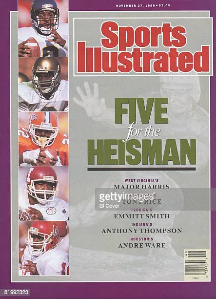 November 27 1989 Sports Illustrated Cover College Football Five for the Heisman View of Heisman Trophy at Downtown Athletic Club Insets Closeup of...