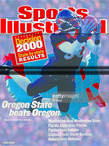 November 27, 2000 Sports Illustrated via Getty Images Cover:College Football: Oregon State Chad Johnson in action, making diving catch vs Oregon at...