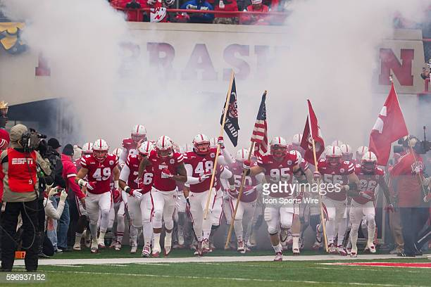 Nebraska Cornhuskers take the filed before the game against the Iowa Hawkeyes at Memorial Stadium in Lincoln Nebraska Final score Iowa 28 Nebraska 20b