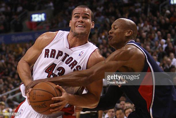 November 28 2008 Kris Humphries is fouled by Maurice Evans as the Toronto Raptors win their second in a row 9388 against the Atlanta Hawks at the Air...
