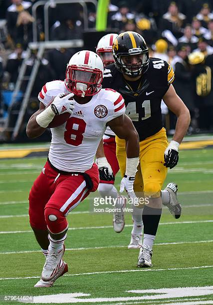 Nebraska runningback Ameer Abdullah with the ball during a Big Ten Conference football game between the Nebraska Cornhuskers and the Iowa Hawkeyes at...