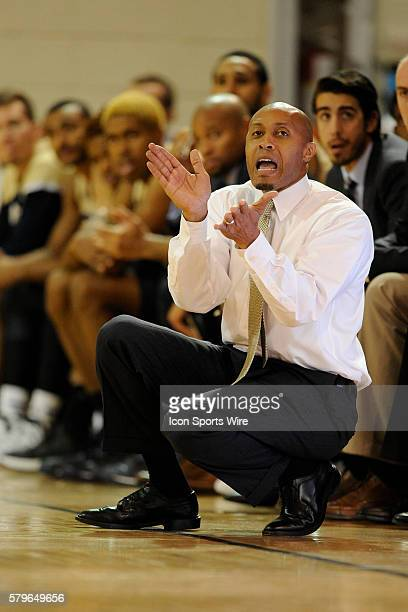 Anthony Evans head coach Florida International University Panthers applauds his team's effort against Wright State University Raiders in the Upstate...