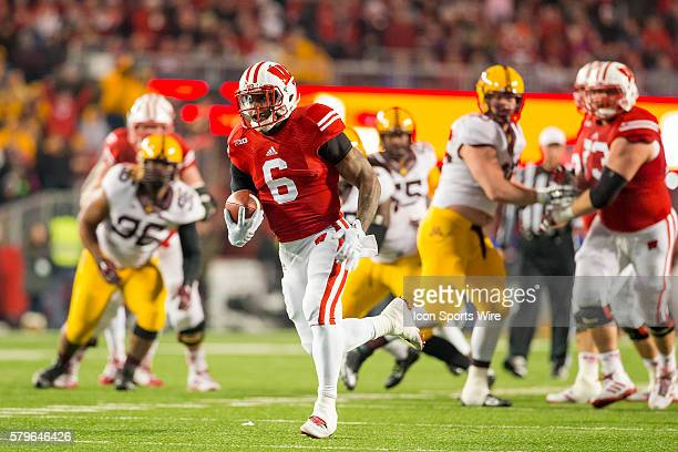 Wisconsin Badgers running back Corey Clement in action as the Wisconsin defeated the Minnesota Golden Gophers for Paul Bunyan's Axe and the Big Ten...
