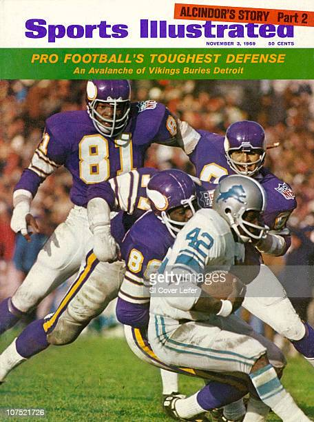 November 3 1969 Sports Illustrated CoverFootball Minnesota Vikings Carl Eller Alan Page Gary Larsen and Roy Winston in action vs Detroit Lions Altie...