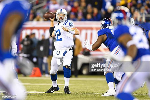 Indianapolis Colts quarterback Andrew Luck throws a pass during a NFL game between the Indianapolis Colts and the New York Giants at MetLife Stadium...