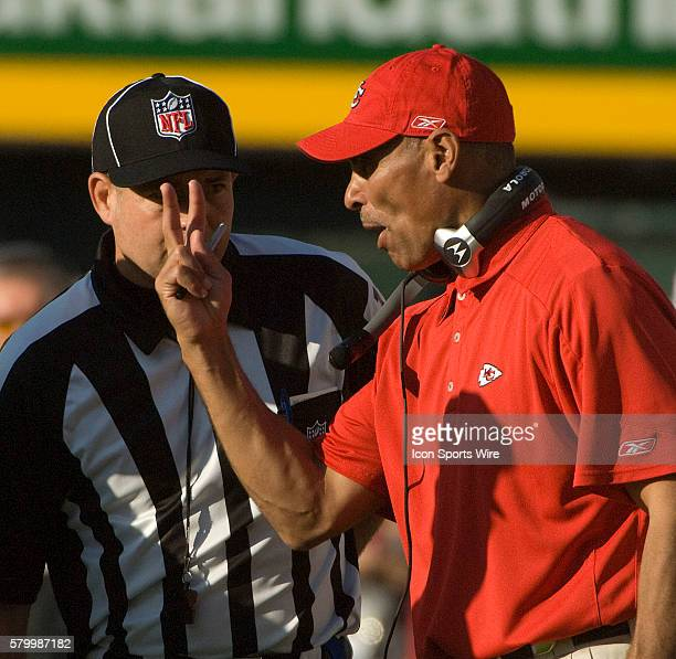 Kansas City Chiefs head coach Herm Edwards gives his opinion to referee on Sunday November 30 2008 at McAfee Coliseum in Oakland California The...