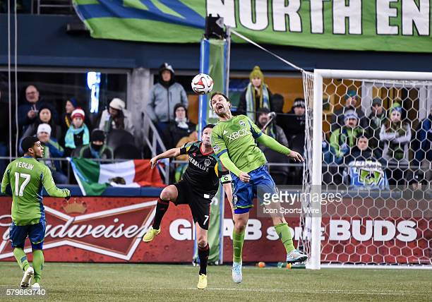 CenturyLink Field Seattle Washington Chad Marshall heads the ball as Seattle Sounders FC wins the match against the LA Galaxy 21 but lose the MLS...