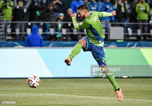 CenturyLink Field Seattle Washington Clint Demspey takes a shot on goal as Seattle Sounders FC wins the match against the LA Galaxy 21 but lose the...