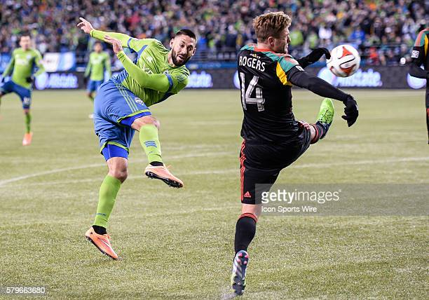 CenturyLink Field Seattle Washington Galaxy midfielder Robbie Rogers blocks a shot from Clint Demspey as Seattle Sounders FC wins the match against...