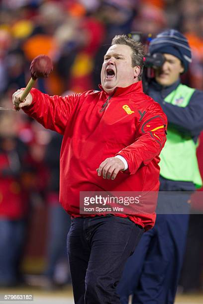 Kansas City Chiefs fan and Kansas City native Eric Stonestreet during the NFL AFC West game between the Denver Broncos and the Kansas City Chiefs at...