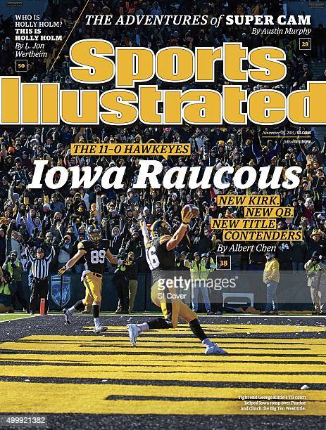November 30 2015 Sports Illustrated via Getty Images Cover Iowa George Kittle victorious after scoring 35yard touchdown as teammate Brycen Hopkins...