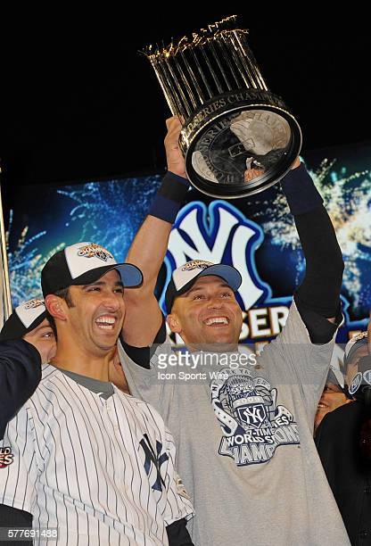 Philadelphia Phillies at New York Yankees in game six of the World Series at Yankee Stadium in the Bronx NY The Yankees celebrate there World Series...