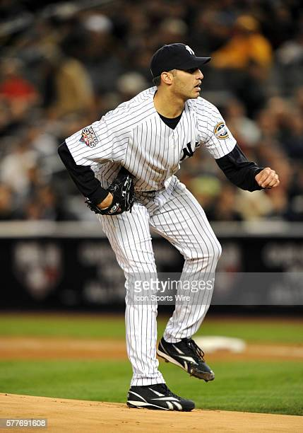 Philadelphia Phillies at New York Yankees in game six of the World Series at Yankee Stadium in the Bronx NY Yankees starting Andy Pettitte delivers...