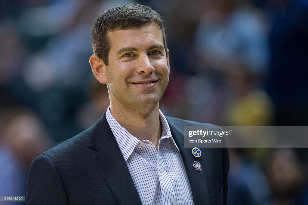 Boston Celtics head coach Brad Stevens during a NBA game between the Indiana Pacers and Boston Celtics at Bankers Life Fieldhouse in Indianapolis, IN.